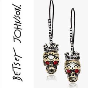 Betsey Johnson Crown Skull Earrings NWT